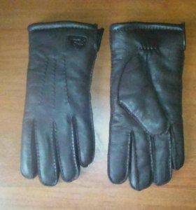 Перчатки кожаные утепленые