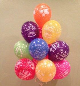 Букет фонтан из воздушных шаров с днем рождения