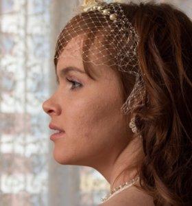 Свадебная вуалетка цвет Айвори ручная работа