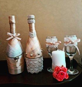 Украшение шампанского и бокалов на заказ