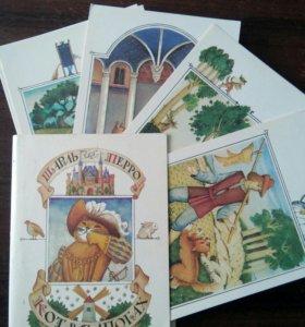 """Комплект открыток """"Кот в сапогах"""". 1986 г."""