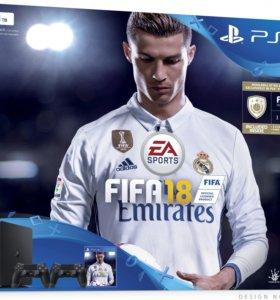 Новые PlayStation 4 Slim 1Tb + 2 геймпад + FIFA 18
