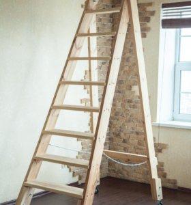 Лестница деревянная на роликах