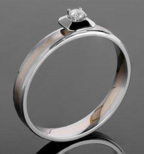 Золотое кольцо с бриллиантом 0,08 ct