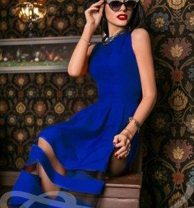 Платье габардин. Цвет синий электрик. Размер 40-42