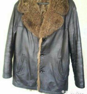 Куртка мужская из натуральной кожи. Мех волка