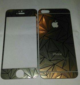 Защитное стекло iphone 5/5s 2 в 1