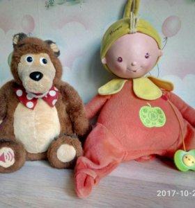 Кукла Аленка и медведь (сломаны, можно починить)