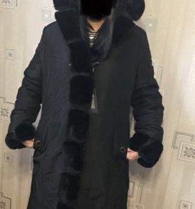 Пальто зимнее с мехом Кролика