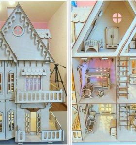 Кукольные домики с мебелью для подарка