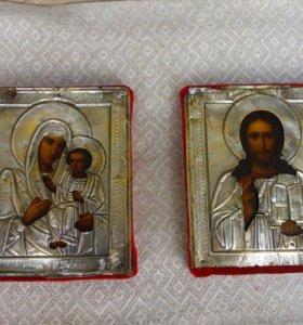 Иконы. Венчальная пара серебро
