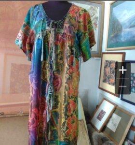 Роспись ткани в стиле батик