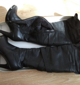 Сапоги зимние, кожаные
