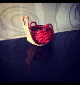 Плетёная улитка-корзинка