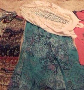 Микс -Блузка, юбка, футболка и ажурный кардиган