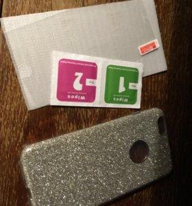 Силиконовый чехол + стекло и салфетки на IPhone 6+