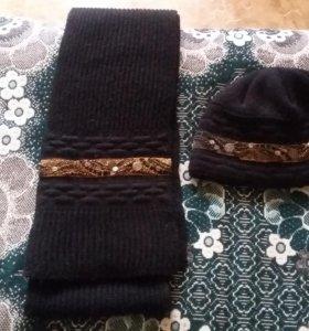 Комплект женский:шарф с шапкой.