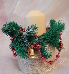 Декоративная новогодняя свеча