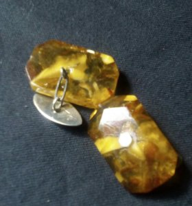 Запонки Серебро/янтарь
