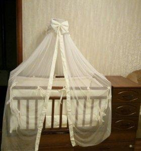 Детская кроватка-трансформер, балдахин, бортики