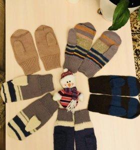 Зимние варежки, натуральная шерсть, handmade