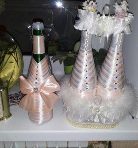Украшение бутылок и замочков