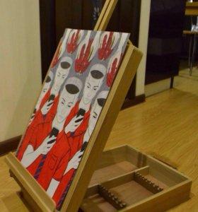 Новый деревянный мольберт-чемодан