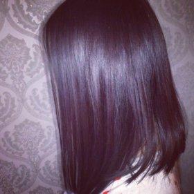 Окрашивание волос + стрижка + повседневный макияж