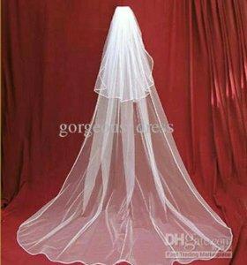 Свадебная фата с вуалью длинная