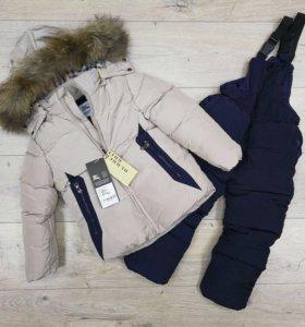 Новый Зимний комплект куртка и полукомбинезон