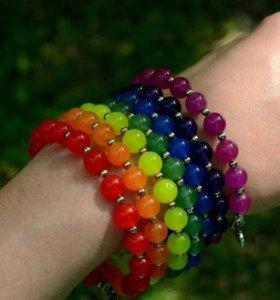 Чакровые браслеты талисманы с природными камнями