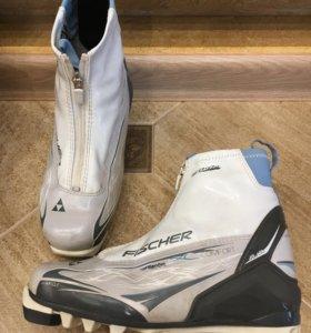 Лыжи в комплекте с креплениями,палками и ботинками