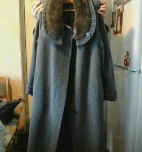 Пальто драп с воротником норка 58 р.