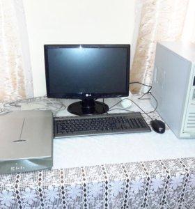 Продам б/у монитор, системник и сканер