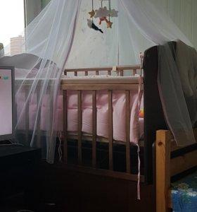 Детская кроватка-маятник+матрас