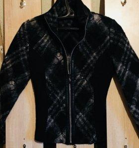 Комбинированная кофта кожа ткань шерсть стильно!