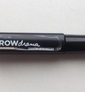 Тушь для бровей от maybelline  brow drama medium