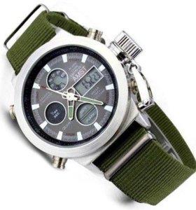 Часы наручные AMST Military Quartz зеленый ремешок