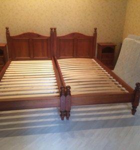 Кровати 2 шт. натуральное дерево размер 90х205