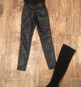 Кожаные леггинсы брюки лосины
