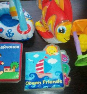 Игрушки для ванной+козырек для мытья головы