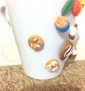 Подарки, Кружки с декором из полимерной глины