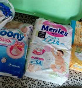 Подгузники 9-14 moony, merries, huggies, пеленки