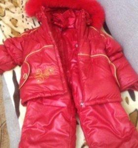 Комплект куртка + брюки зимний для девочки разм.80