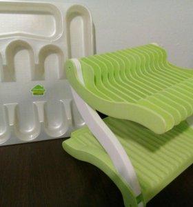 Подставка под посуду + лоток для столовых приборов