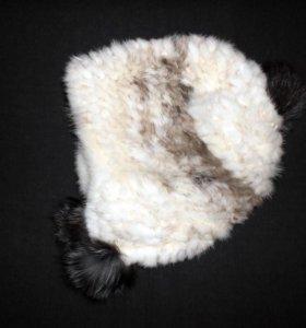 Вязаная норковая шапка с помпонами, 55-60 см