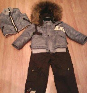 Пухавик на мальчика 3-4 года + рюкзачёк