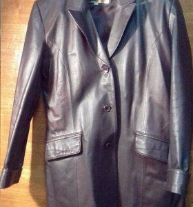 Кожаный пиджак-френч
