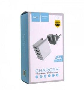 Зарядное устройство HOCO C20, 3 USB, 2,4A