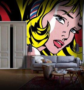 Роспись стен Поп арт девушка настенная роспись